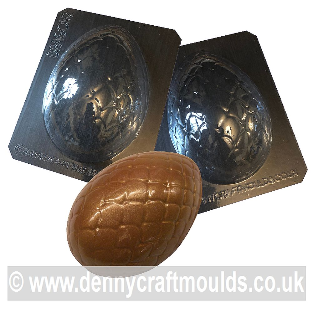 EXTRA LARGE DRAGON SCALES nr2 SET OF 2 EASTER EGG MOULDS
