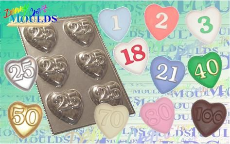 Heart Chocolate Moulds with ages on them!