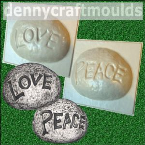 LOVE PEACE SMALL CONCRETE STONES MOLDS | Denny Craft Moulds